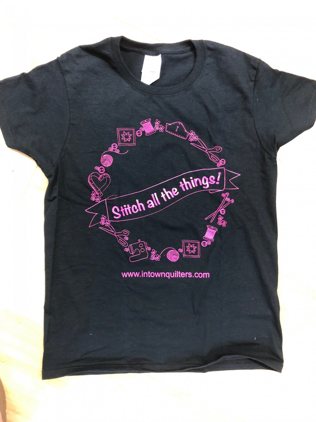 Pink on Black Stitch All the Things T-shirt