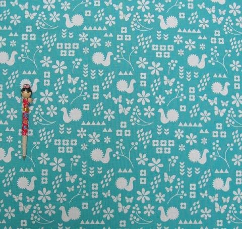 Critter Stamp Teal cotton/linen canvas 1/2-yard minimum