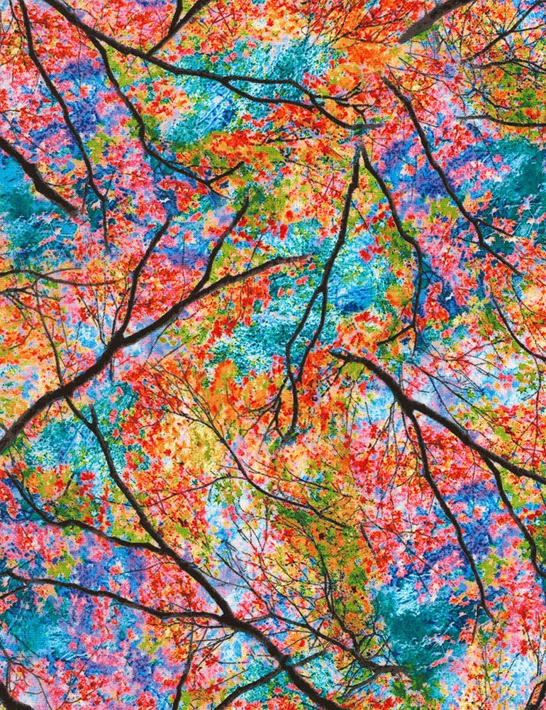 Bright Spring Trees NATURE-C6187-BRIGHT Electric Nature by Timeless Treasures