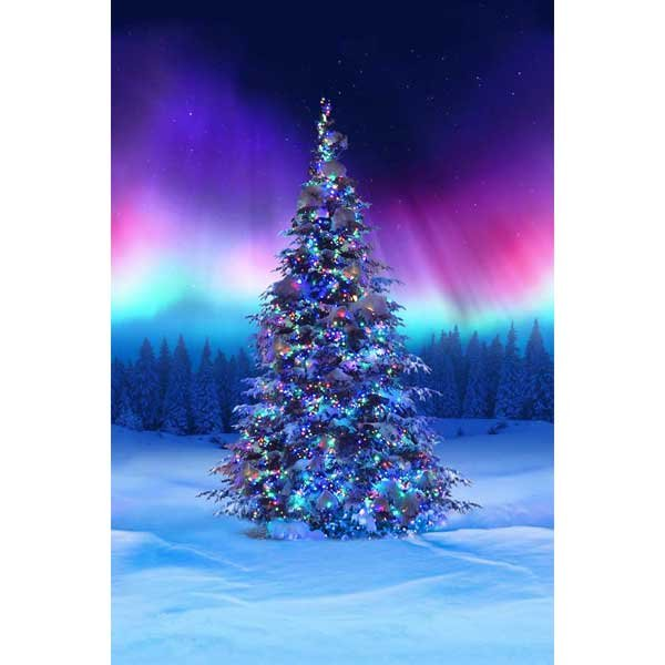 All Aglow Borealis Christmas tree PANEL