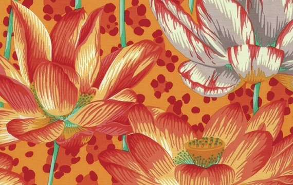 Leopard Lotus Orange Philip Jacobs Kaffe Fassett Collective