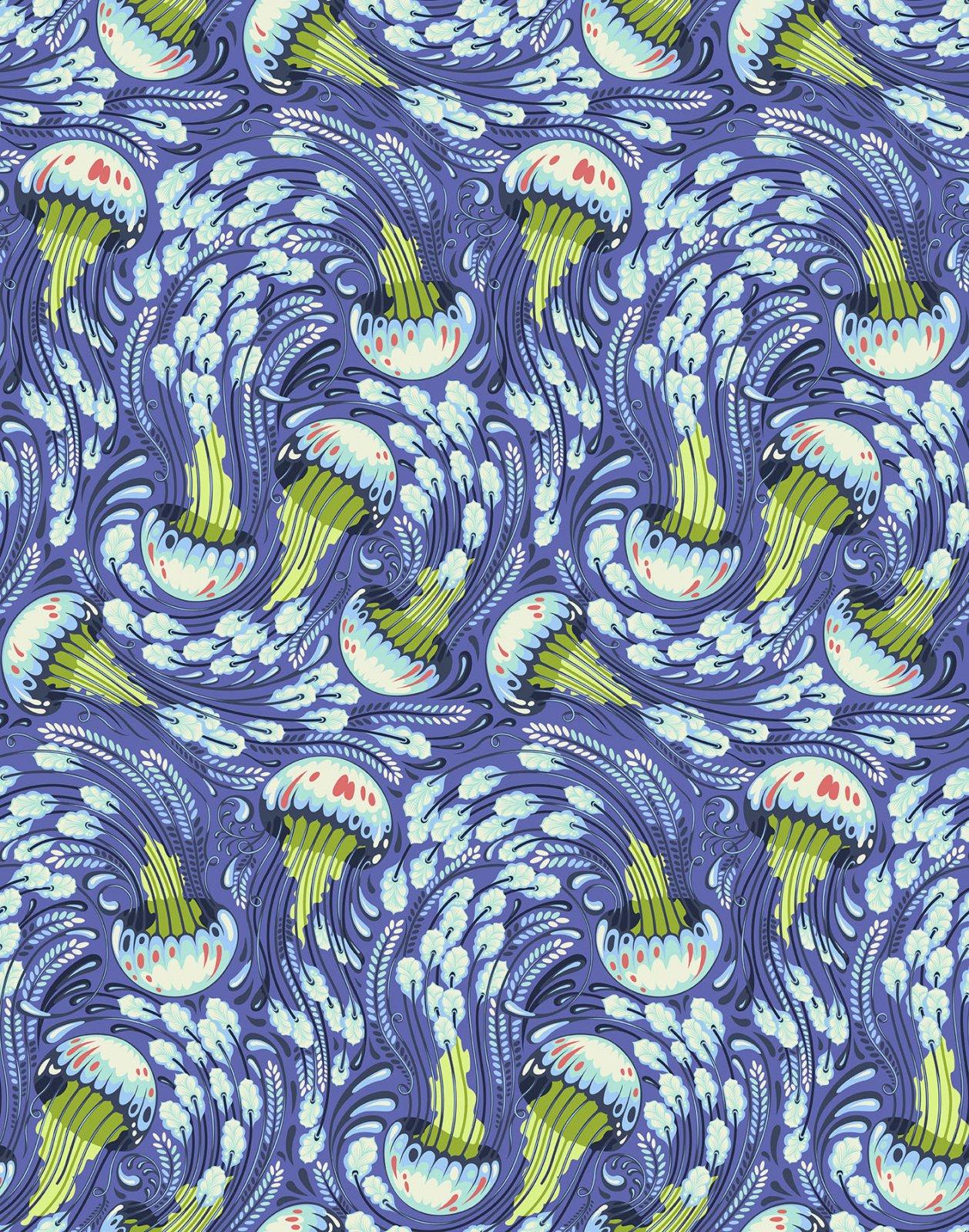 Aquamarine Sea Bloom PWTP120.AQUAM Zuma by Tula Pink