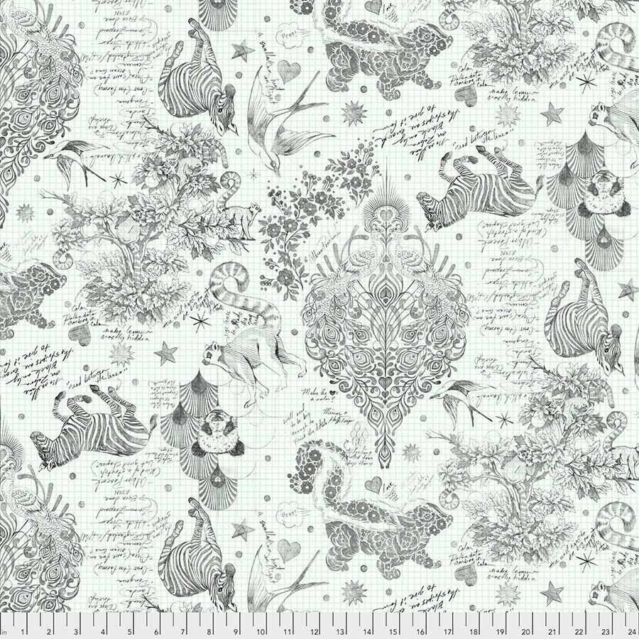 2.75 yard piece of Paper Sketchyer 108in WIDE Backing QBTP005.PAPER Linework by Tula Pink