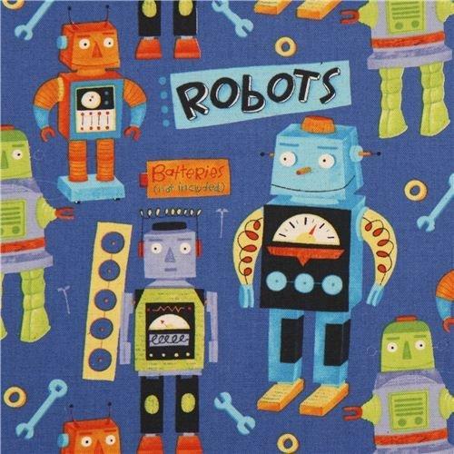 Robots Blue Canvas 1/2-yard minimum
