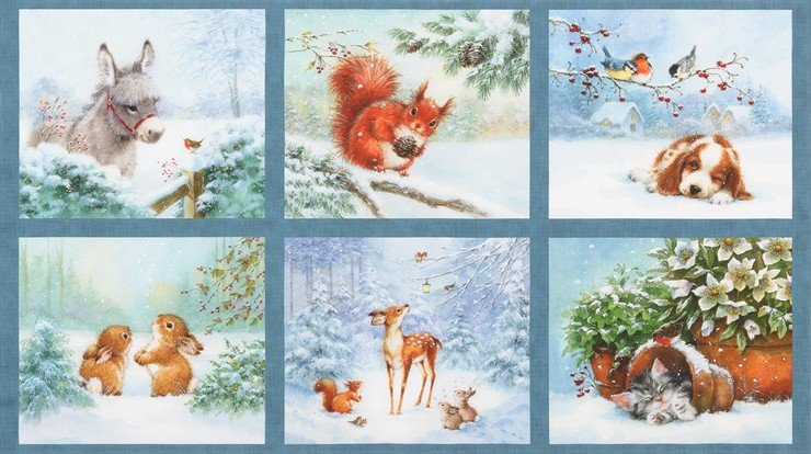 Snow Pals Dusty Blue PANEL 2/3 yd digitally printed AHL-16931-68
