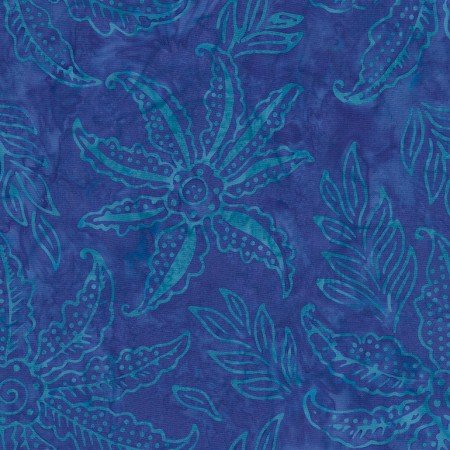 27 x WOF Coast Scalloped Flower Batik TONGA-B7125-COAST Dazzle by Timeless Treasures