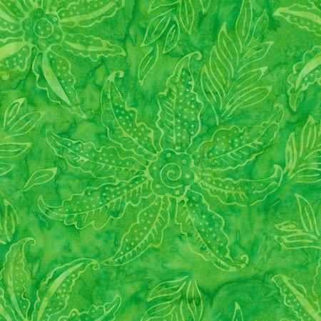 Lime Scalloped Flower Batik TONGA-B7125-LIME Dazzle by Timeless Treasures