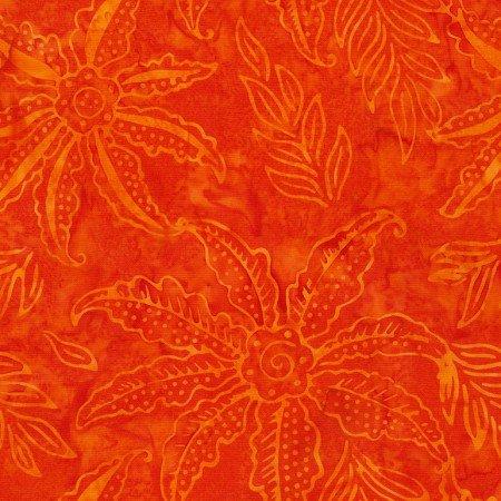 Poppy Scalloped Flower Batik TONGA-B7125-POPPY Dazzle by Timeless Treasures