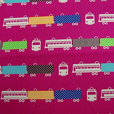 Nico Train Fuchsia Canvas 1/2 yard minimum