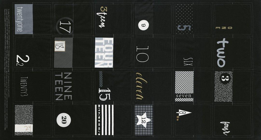 White Christmas Metallic 1650-14M Panel Black