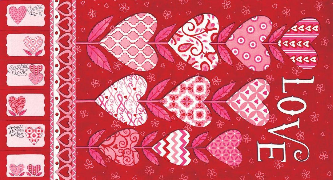 Love Grows 19860-11 Panel Romantic Red