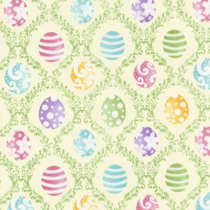 Hoppy Easter B-9425-44 (Colored Eggs on green Bordered with Vines)