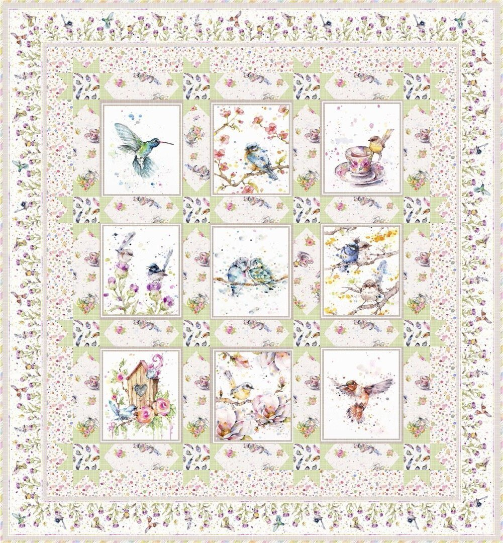 Flowers & Feathers Quilt & Pillow Kit (Green Version)