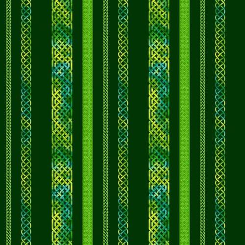 Irish Folk 2403-68 Emerald (Celtic rope designs stripe on green)