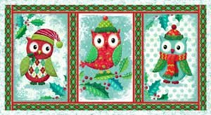 Owl Be Home For Christmas 25582 Green Panel