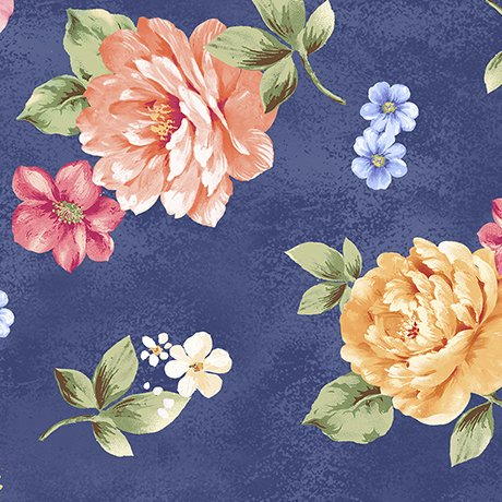 Garden Grandeur 26490-N Large Floral Toss Navy
