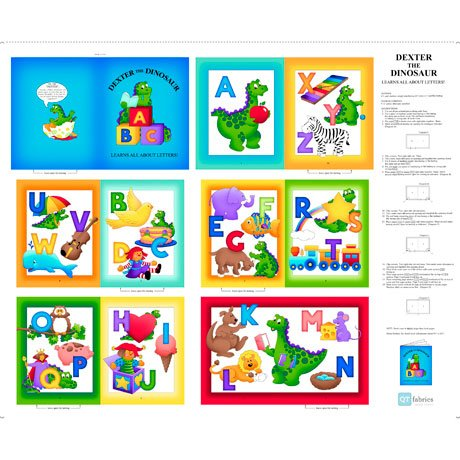 Sew N Go VII 26932-X Dexter the Dinosaur Learns about Letters 36 Panel