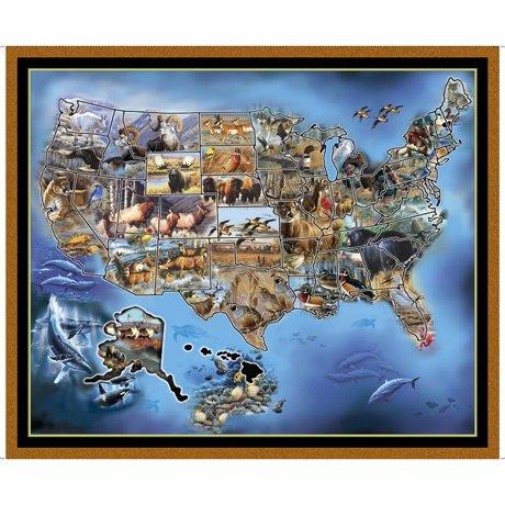 Sew N Go VII 26934-X U.S. Animal Map 36 Panel