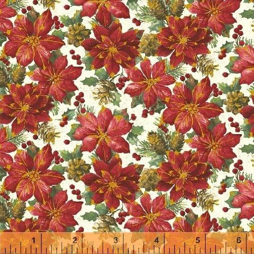 Noel 42396M-1 Linen Poinsettias