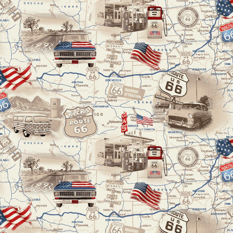 All-American Road Trip by Studio E Fabrics 4314-33 (Map)