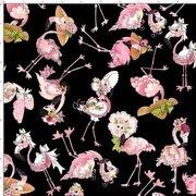 Flamingo Fancy 692-329 Tossed Flamingos Black