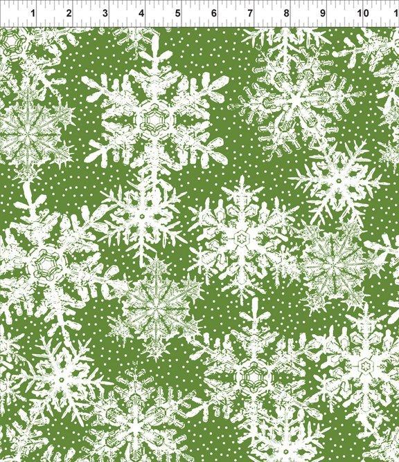 Winter Twist 6WT3 Green Snowflakes