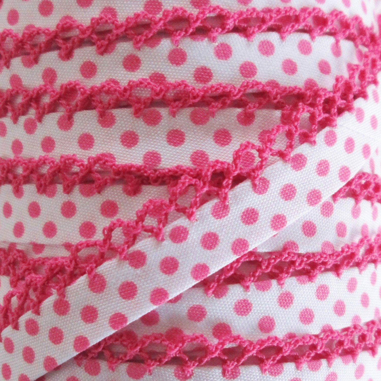 Double Fold Crochet Edge Bias Tape Negative Polka Dot Fuchsia # 71486-432