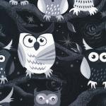 Nite Owls-120-7052  In Trees B/W