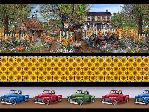 Country Paradise B-9362-39 (Sunflowers /Trucks/Border Print)