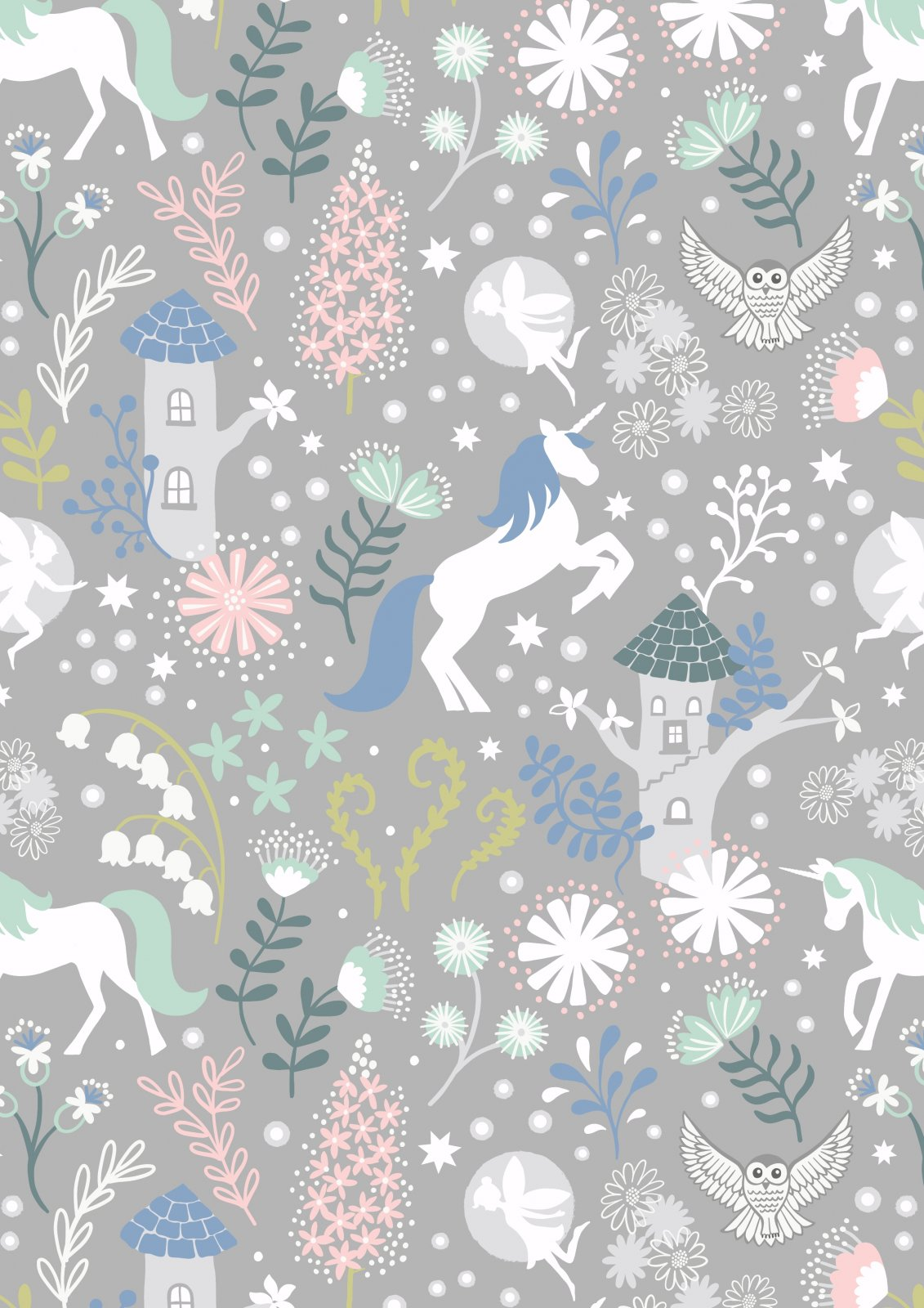 Fairy Lights  FLAW18-A308.3 Unicorn Forest (Glow in the dark on grey)