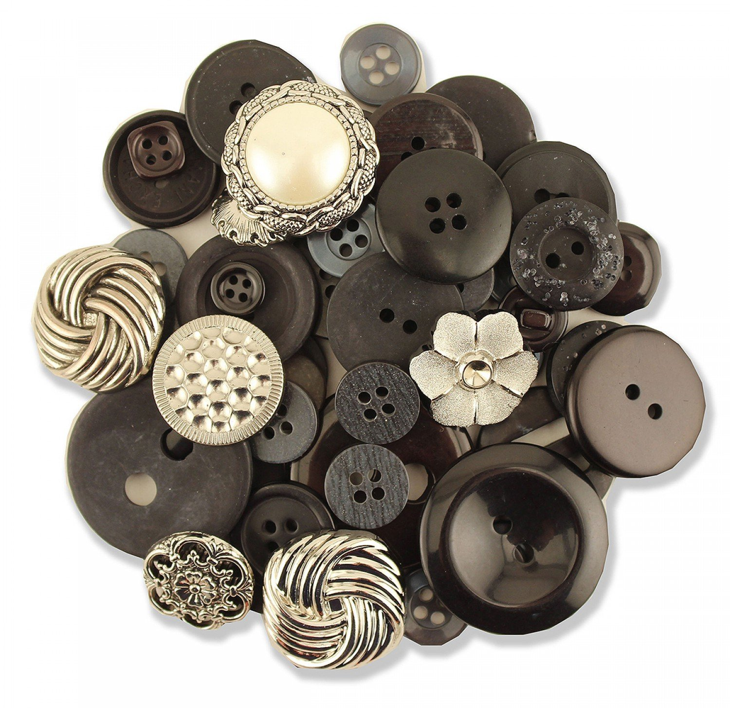 Haberdashery Collection Black / Silver Buttons
