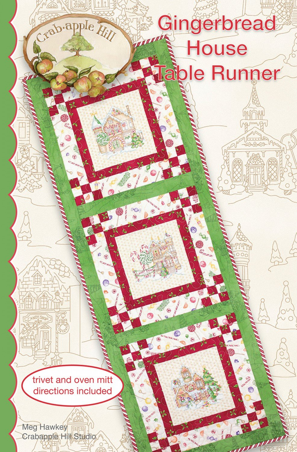 Gingerbread House Table Runner Pattern