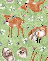 Forest Friends by Nancy Archer 4353-66 (Forest Wildlife on Green)