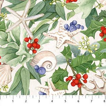 COASTAL CHRISTMAS DP23425-11 Cream Multi (Coastal Stripe) Digital Boarder Print