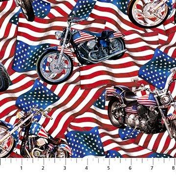 Liberty Ride 2 DP23431-44 Red White Blue Bikes on Flag Digital