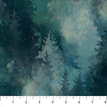 WHISPERING PINES  DP23753-66 Teal Pinetrees