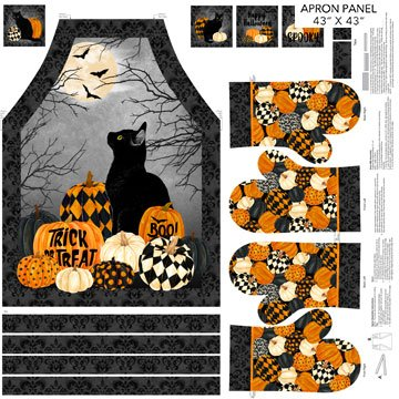 Black Cat Capers DP 24126-99 Mitts Apron Panel Black Multi
