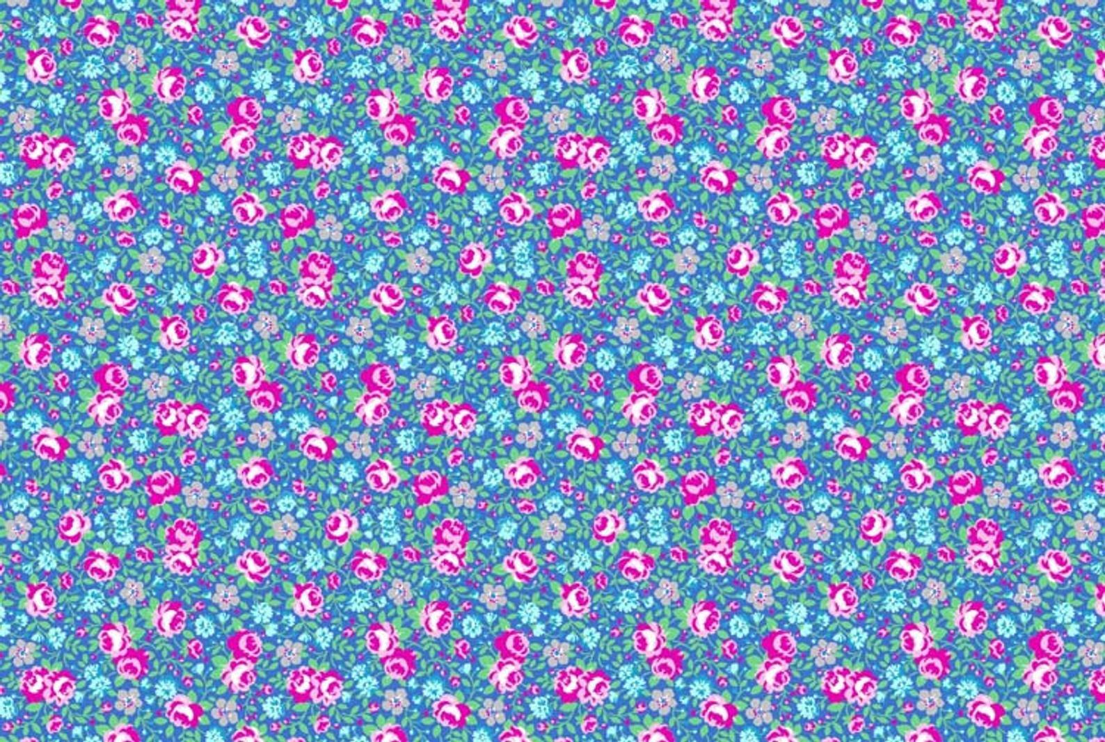 Flower Sugar 745902-70 Floral on Blue