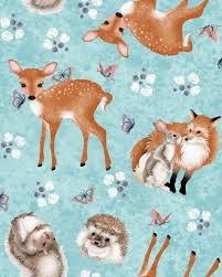 Forest Friends by Nancy Archer 4353-11 (Forest Wildlife on Blue)
