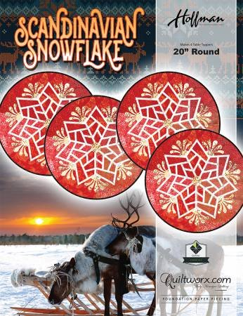 Scandinavian Snowflake 20 Round Pattern & Fabric Kit - Burgundy (Makes 4)