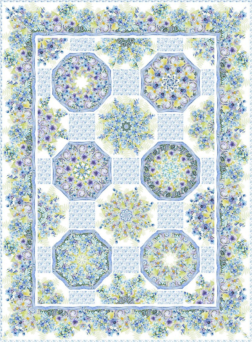 Leah Collection One-Fabric Kaleidoscope Quilt Pattern 65 x 87-1/2