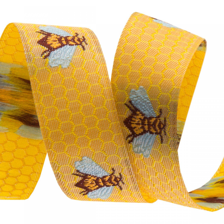 5/8in Ribbon Honeybee / Golden Honeycombs