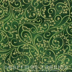 Irish Charm M4210 - 31G Emerald Gold Highlights Shamrock Scroll