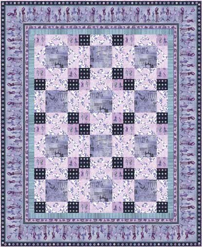 Oh! Sew Beautiful Quilt Kit (Blue/Lavender Version)