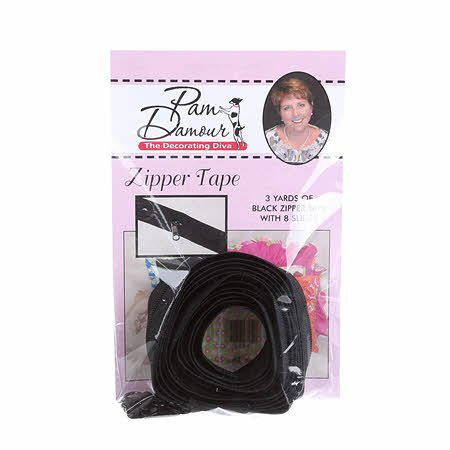 Zipper Tape 3 yards of Reversible Coil with 8 Slides - Black