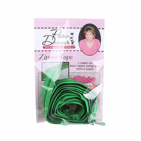 3 yards of Reversible Coil Zipper Tape  with 8 Slides  - Kelly Green