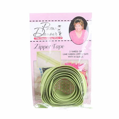 3 yards of Reversible Coil Zipper Tape  with 8 Slides  - Lime Green