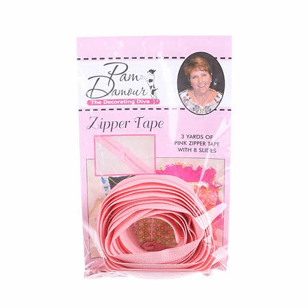 3 yards of Reversible Coil Zipper Tape  with 8 Slides  - Pink