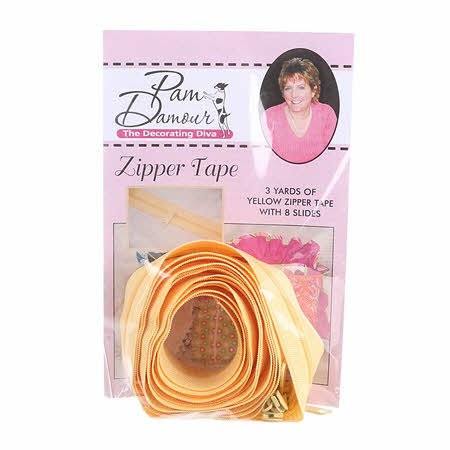 3 yards of Reversible Coil Zipper Tape  with 8 Slides  - Yellow