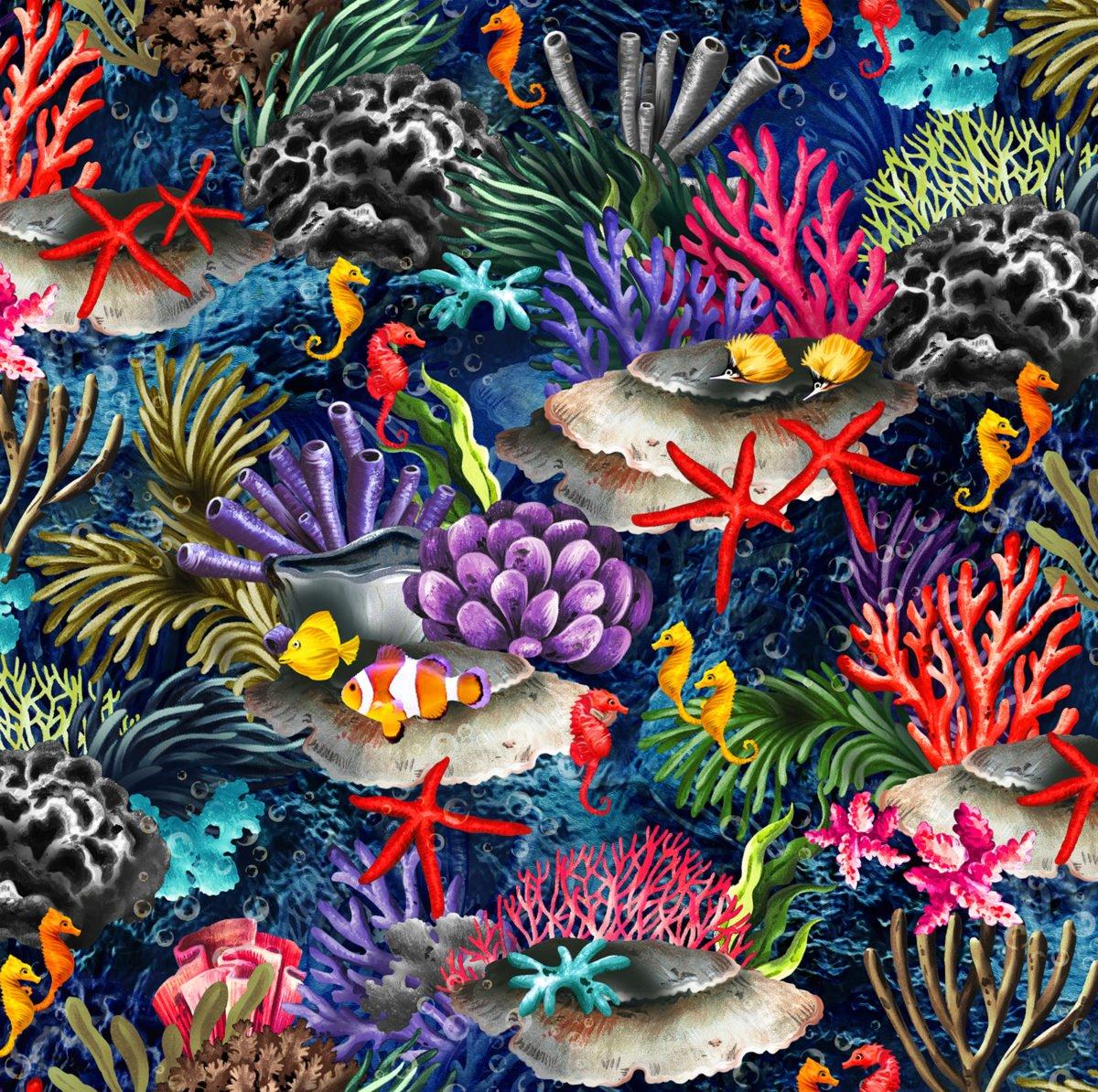 The Reef OA593861 Coral Reef Dark Blue